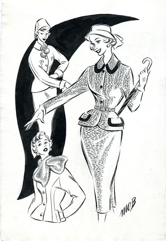 Margaret Oliver Brown fashion illustration (archive reference: DC/51/2/16).