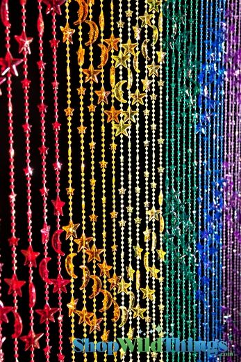 Stars & Moons Rainbow Beaded Curtain! I have a wooden beaded curtain to my closet I love but if I get my own place I'm getting more beaded curtains!
