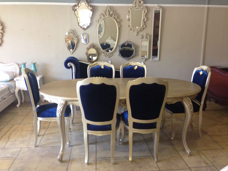 Spectacular gilded german silver dining set with royal blue upholstery