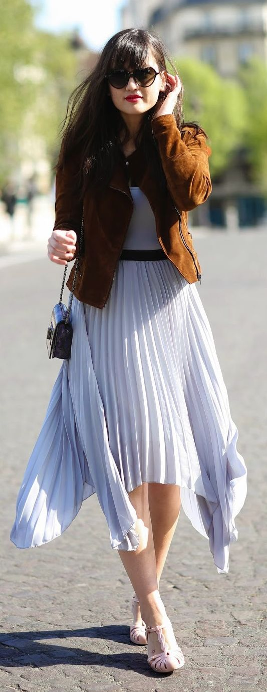 Lilac Pleated Skirt Outfit Idea                                                                             Source