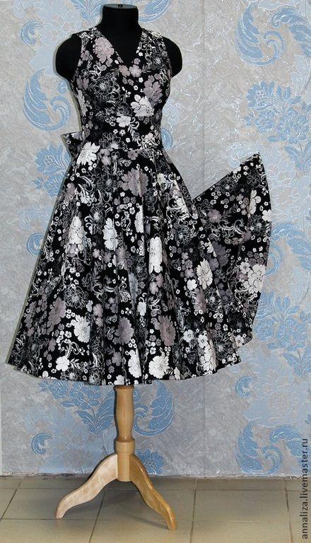 """Купить Платье в стиле 50-х """"Любимое черно-белое"""" - мода 50-х"""
