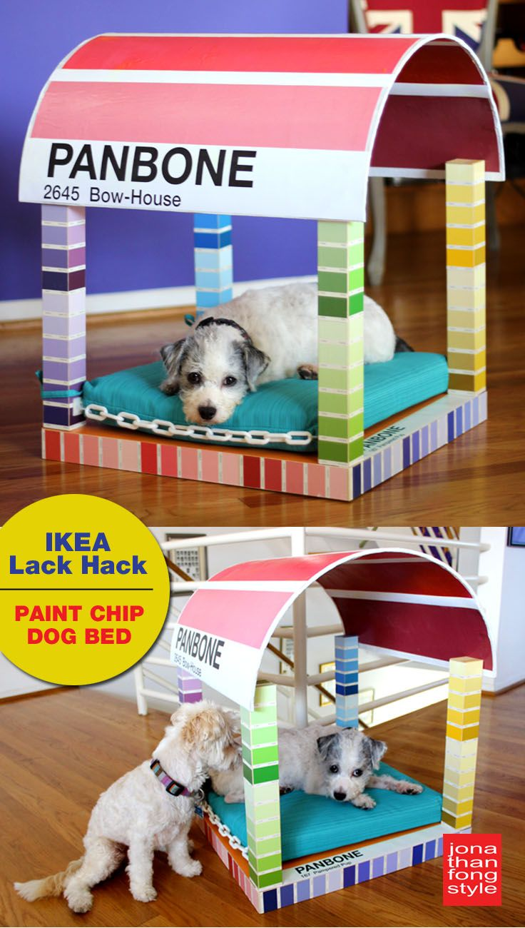This project has gone to the dogs! Designer Jonathan Fong creates a Pantone-themed four-poster dog bed using an IKEA Lack table, half a sonotube, some white plastic chain, an outdoor cushion, and paint chips and Pantone poster sheets, which he decoupaged. #ikeahack #pantone #paintchips #dogbed