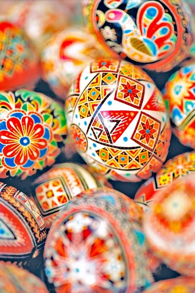 Traditional 'pysanky', or Ukrainian Easter eggs, made in the year 2000 (Made and photographed by Dave Melnychuk)