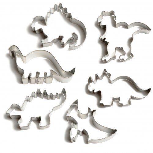 Uitsteekvormen voor Dinosauruskoekjes, set van 6 stuks in doos, vertind metaal