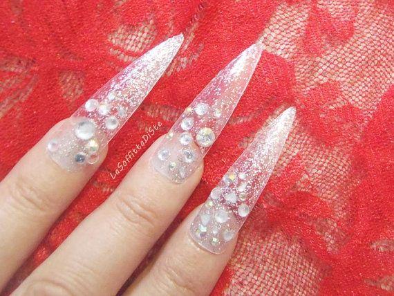 extreme nails drag queen strass crystals long false nails rhinestones costume parade full tips bling nail halloween holidays lasoffittadiste