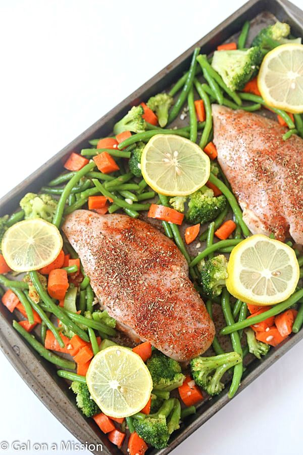 One-Pan Baked Lemon Chicken w/ Vegetables - An easy and healthy weeknight meal! If you are a fan of one-pot meals, you will love this.