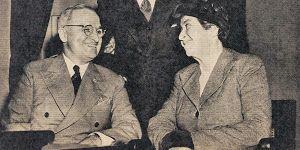 Gabriela Mistral y exPresidente Harry Truman de USA.
