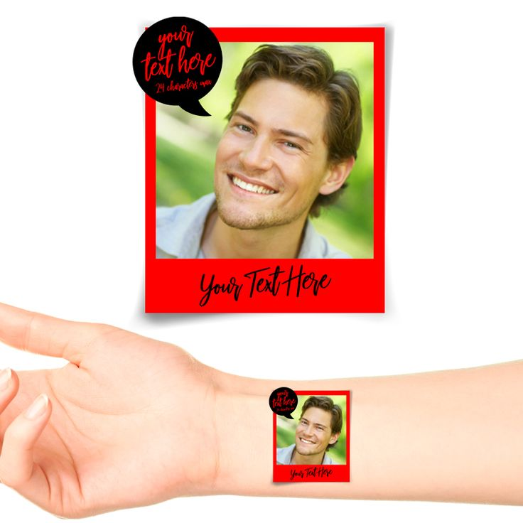 Red Polaroid Photo Personalised Tattoo #1179 (20 pack)
