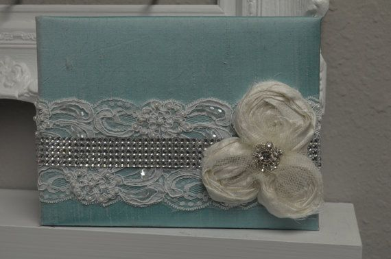 Tiffany Blue Guest Book Pale turqouise Dupioni por ForeverLoveNotes, $55.00