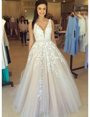 c255c2d52b Ball Gown Spaghetti Straps Long Burgundy Prom Dress with Appliques ...