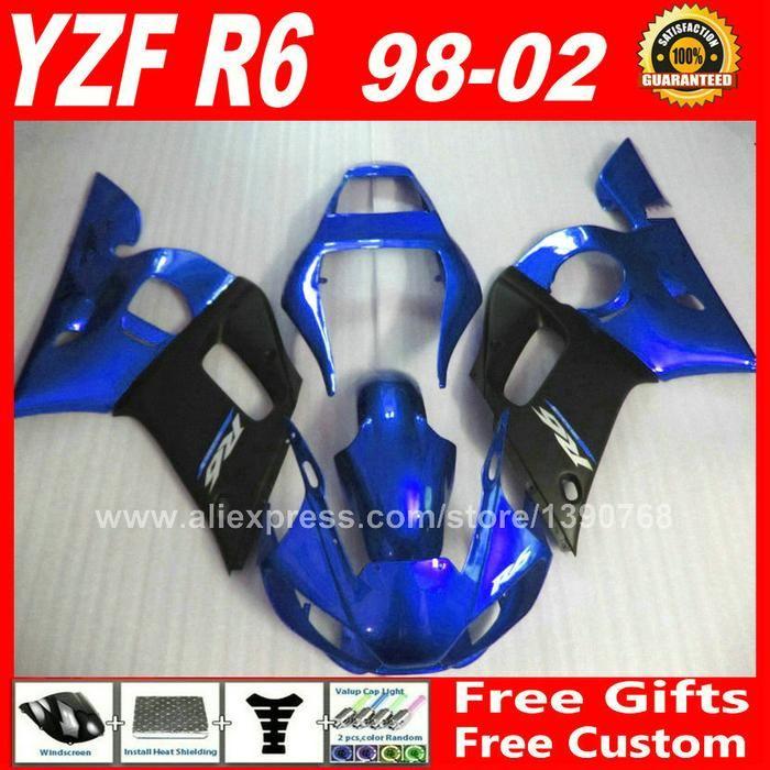[Visit to Buy] Fairing kit for 1998 - 2002 YAMAHA R6 1999 2000 2001  bodywork  blue matte black 98 99 00 01 02 fairings kits N6S2 #Advertisement