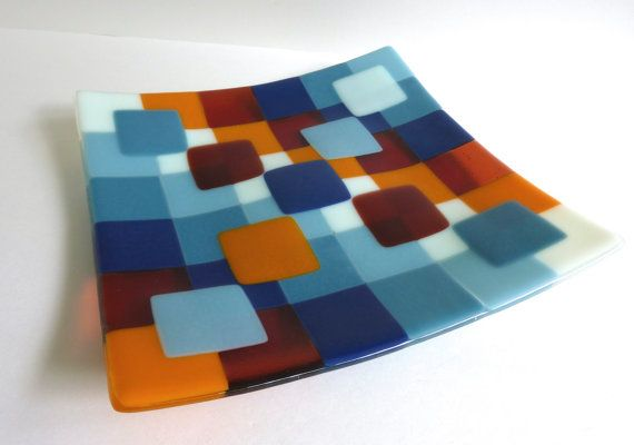 Fused Glass Plate in Bright Squares of Blue, Orange and Chalk Green