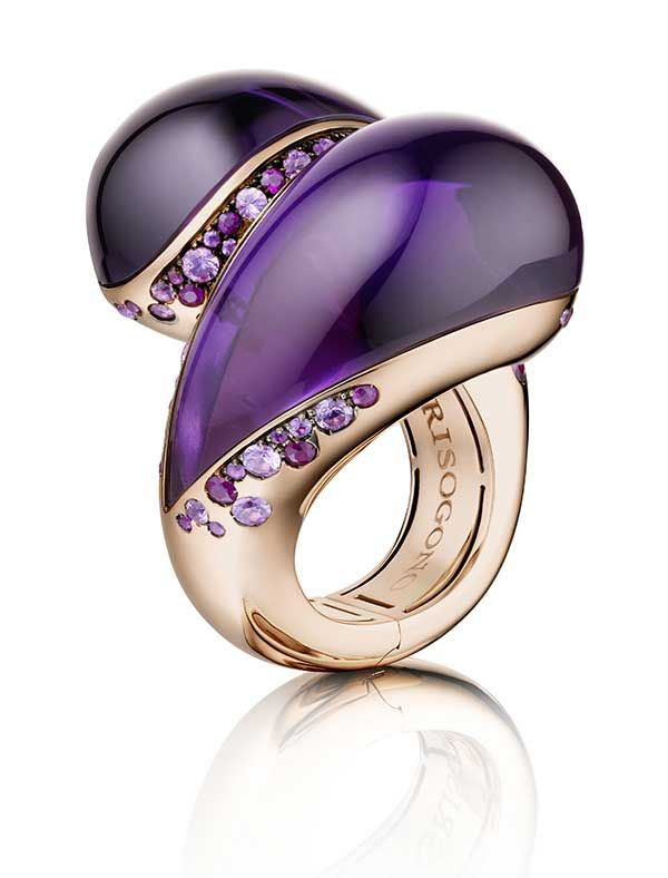 The Sensualona rose gold ring with two large amethysts with highlights of pink sapphires and rubies as worn by Toni Garrn.