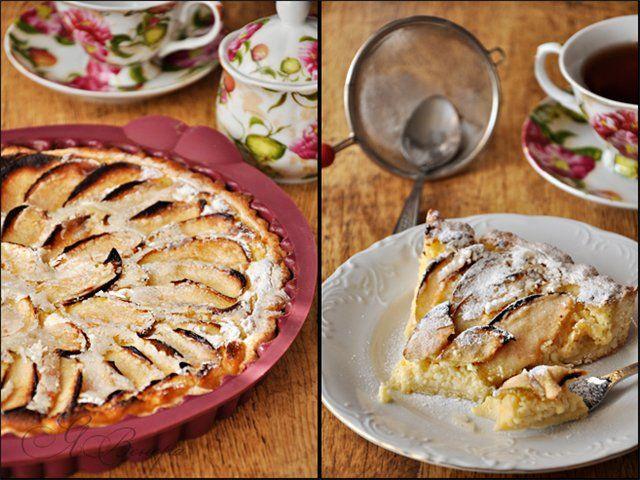 Тарт с яблоками и творожным кремом. - Вкусная пауза