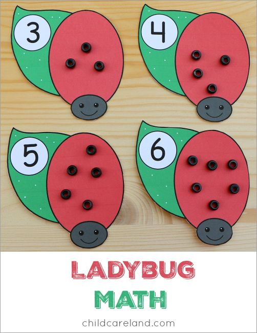 Ladybug math for counting and fine motor development.