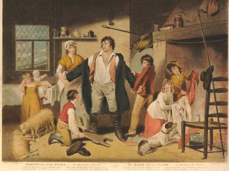 Morning after the Storm, the Husband's Return; after Bigg; published state.  1798 Boy holding handkerchief before the fire