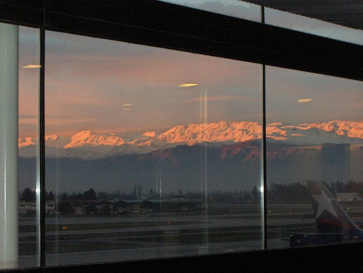 View of the Andes mountains from Santiago airport