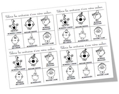Exercices Sur Les Contraires  U0026quot Monsieur    Madame