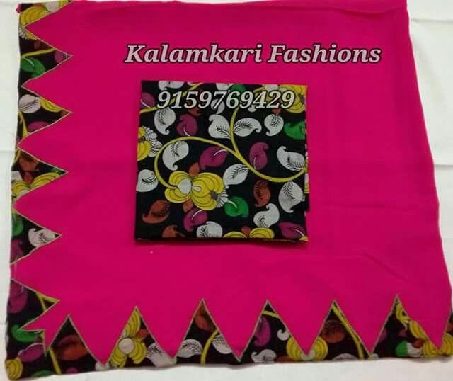 pen kalamkari in temple border matching with pen kalamkari blouse Georgette  saree