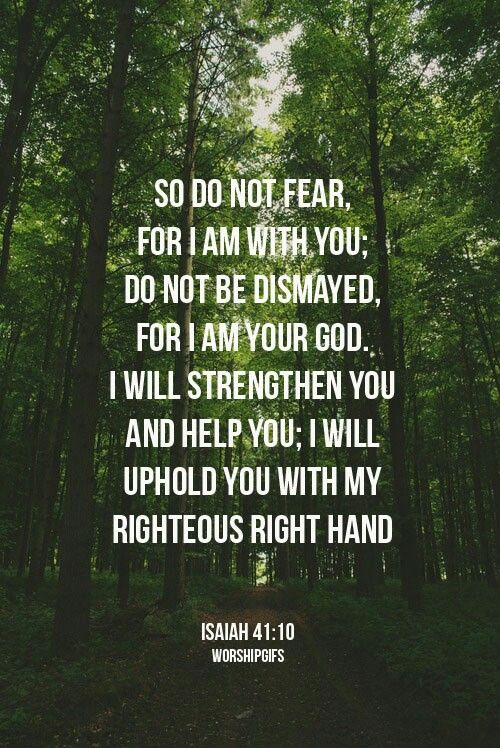 Amazing how this verse just came into my mind during quiet time tonight. Needed reminded of this tonight. Isaiah 41:10 do not fear He is with you. My strengthener