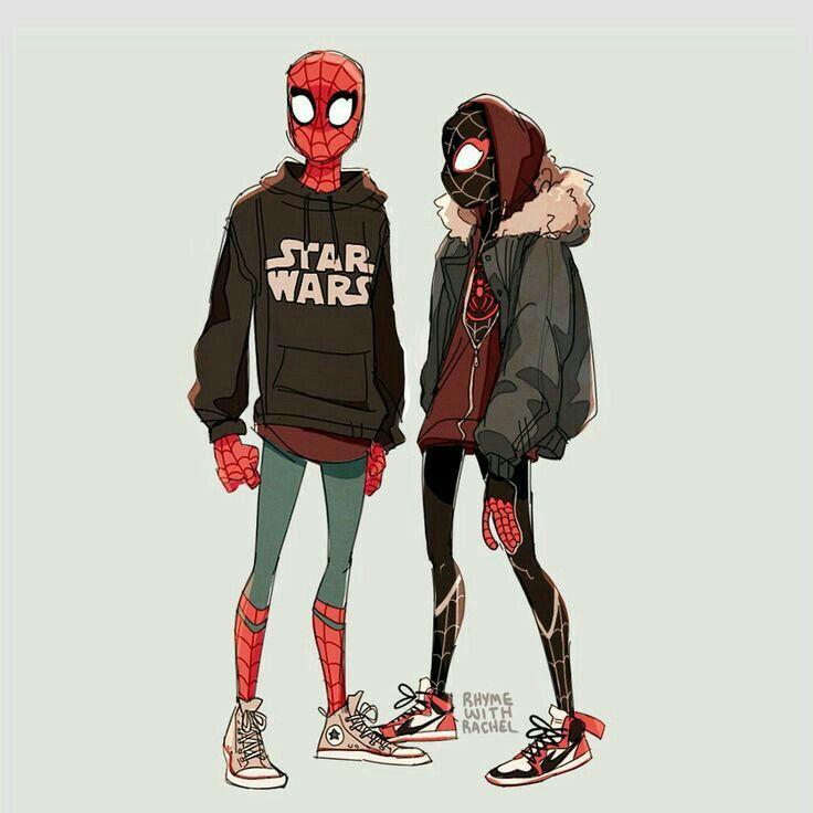 Peter Parker And Miles Morales Marvel Spiderman Spiderman Superhero