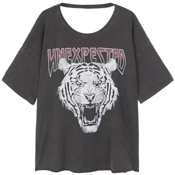 Tiger Print T-Shirt ($24) ❤ liked on Polyvore featuring tops, t-shirts, short sleeve tee, short sleeve tops, animal print top, print tees and animal print tee