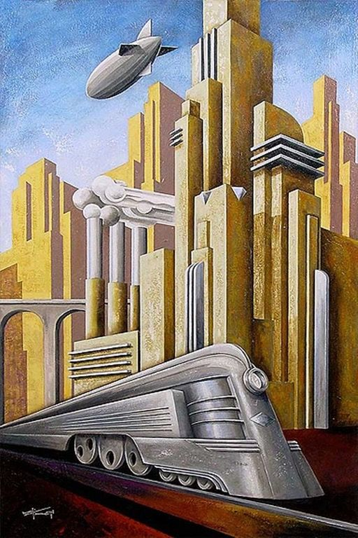 """Downtown Supernova"" futuristic art by Kungl : RetroFuturism"