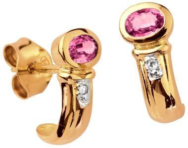 Kohinoor kultaiset korvakorut 143-825P pinkki safiiri