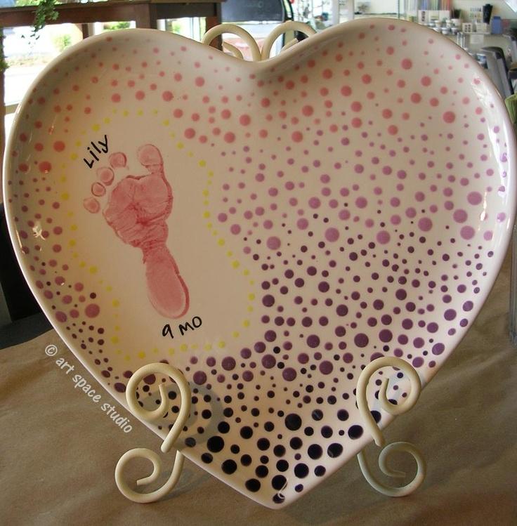 188 best hand foot print ideas images on pinterest for Handprint ceramic plate ideas