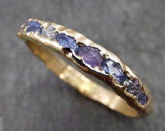 Rohdiamanten und Saphire Herren oder Damen Ehering Custom ein von einer Art blau Montana Edelstein Ring Multi Stein Ring ByAngeline C0269