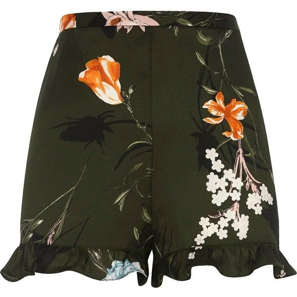 River Island Petite khaki green floral print frill shorts (£40) ❤ liked on Polyvore featuring shorts, casual shorts, khaki, women, green khaki shorts, river island, high waisted khaki shorts, highwaist shorts and floral print shorts