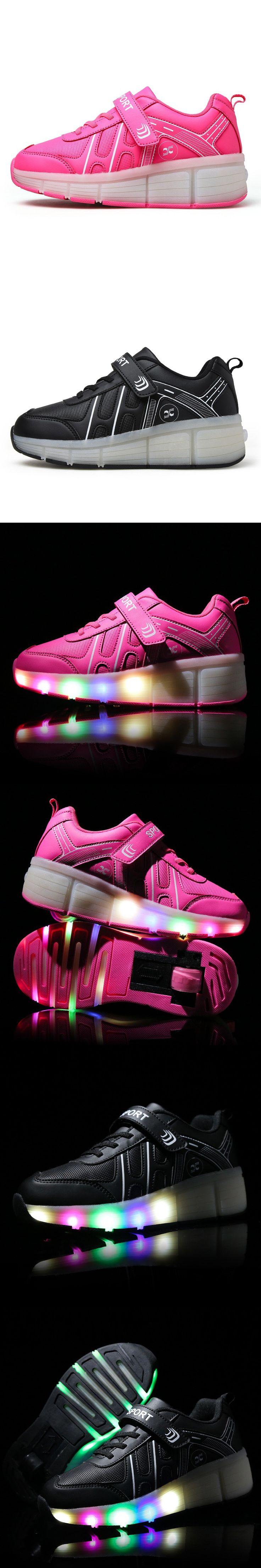 KIDS SHOES Girls Glowing Sneakers Boys Zapatillas Deportivas Hombre Tenis Infantil Wheelie Mujer With Wheels LED Glow Shoe Sport $36.66