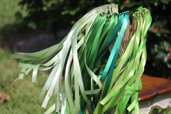Wedding Ribbon Wands - Party streamers - Party Decorations Wedding Decoration Ceremony Beautiful wedding wands with ribbon for your guests! You can choose as many colors as you like per one order (just please write them in Note section). This listing is for 75 ribbon wands. Each wedding
