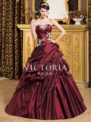 Formal Burgundy Ball Gowns Long Taffeta Strapless Corset Prom Dress - US$ 217.99 - Style P1170 - Victoria Prom