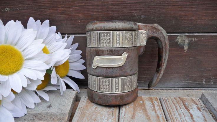 Vintage Norwegian Pewter & Wood Beer Stein Heilag Olav Og Hans Menn Antique Viking Wooden Drink Mug by Grandchildattic on Etsy