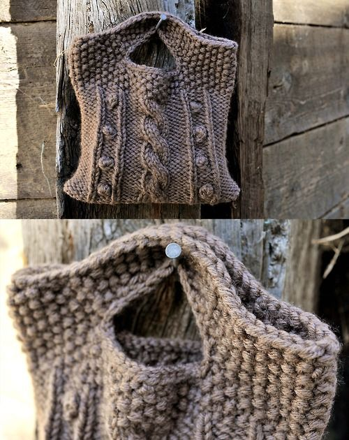 rustic cable bobble bag