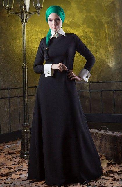 Muslima Beyaz Yakalı Siyah Baz Elbise by Muslima Wear 14004-01
