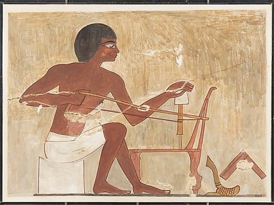 Carpenter Making a Chair, Tomb of Rekhmire. reign of Thutmose III–Amenhotep II. New Kingdom. This facsimile painting copies a wall painting in the tomb of Rekhmire (TT 100) in western Thebes