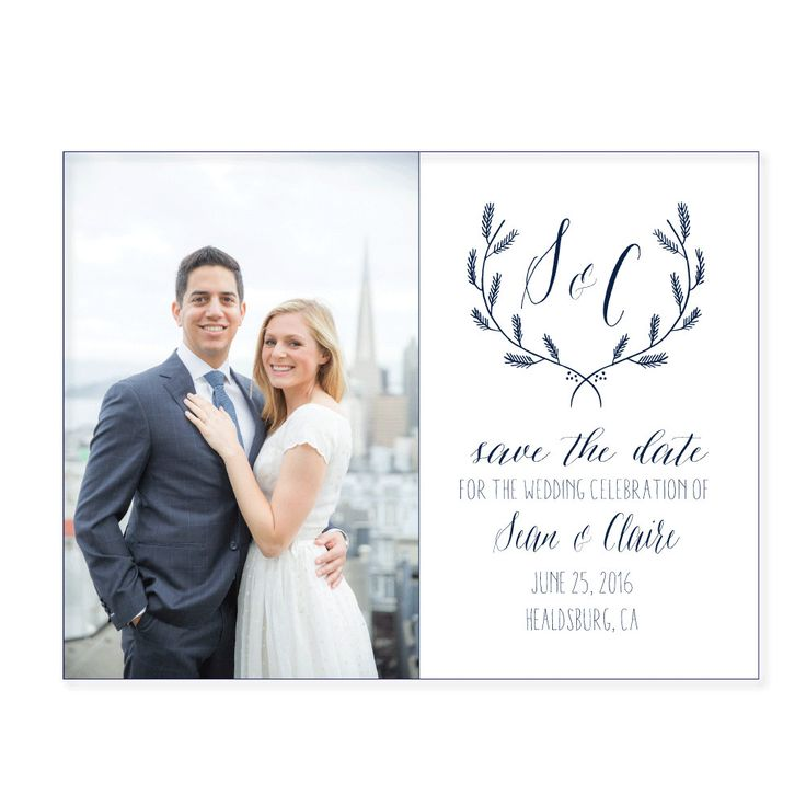 Isnt this just darling!? As seen at the Martha Stewart Wedding Show ... a simple, clean modern look. Perfected with your logo! This listing is for P R I N T E D Save the date Cards & matching envelopes (you print is available, see below) The save the date set includes: - 5.5 x