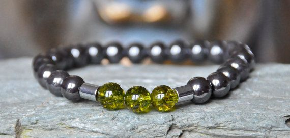 Peridot Men Stability bracelet mediation by CrystalsAndRainbows