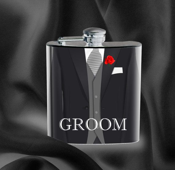 Groom - Hip Flask - Personalized Flask with Name or Initials - Wedding Bachelor Party Best Man Groomsman Father of the Bride