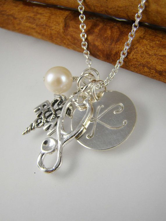 Personalized RN Nurse Necklace Stethoscope Charm by ShinyLittleBlessings, $39.00