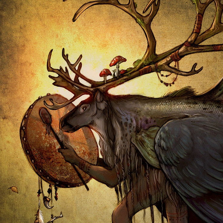 Shapeshifter - Northern Sami Scandinavian Shaman Reindeer 11x17 Print. $25.00, via Etsy.