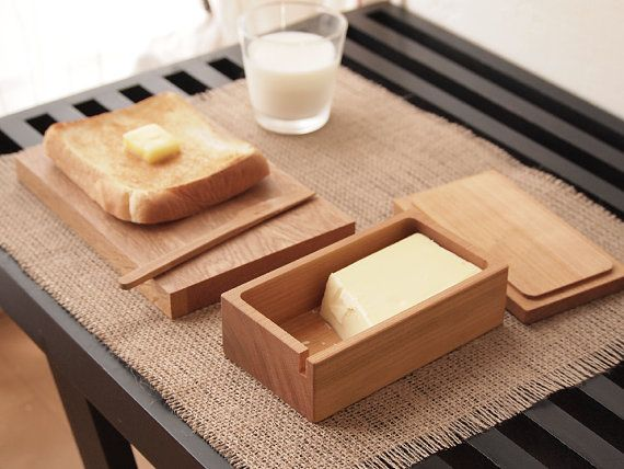 Butter Container. Butter Dish. Butter Knife by HitonariWorks