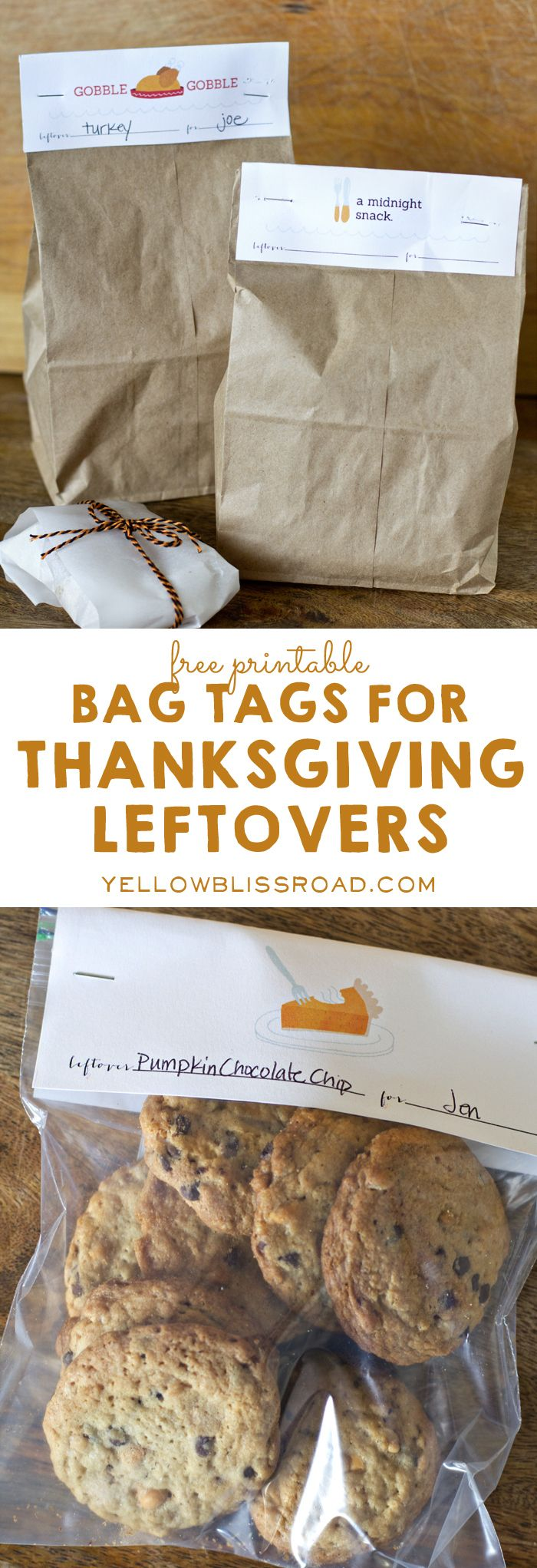 Bag Tags for Thanksgiving Leftovers!! By Yellow Bliss Road for Tatertots and Jello #DIY #Thanksgiving