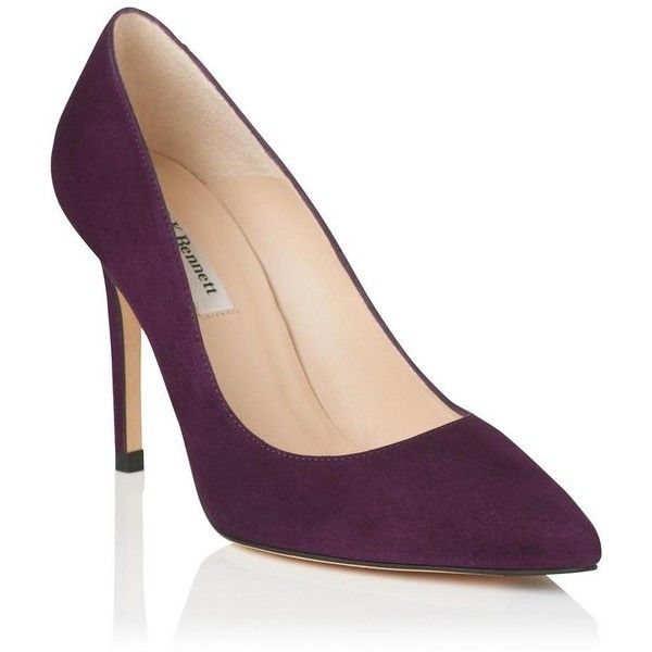 Fern Raisin Suede Closed Courts | Shoes | L.K.Bennett ❤ liked on Polyvore featuring shoes, pumps, purple shoes, suede shoes, suede pointy pumps, purple high heel shoes and pencil shoes