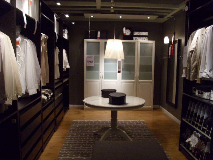 Small Black Color Scheme Walk In Closet Wardrobe Design