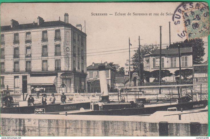 92 - Suresnes - Ecluse De Suresnes Et Rue De Seine - Editeur: Marmuse - (Moto Naphta) - Suresnes