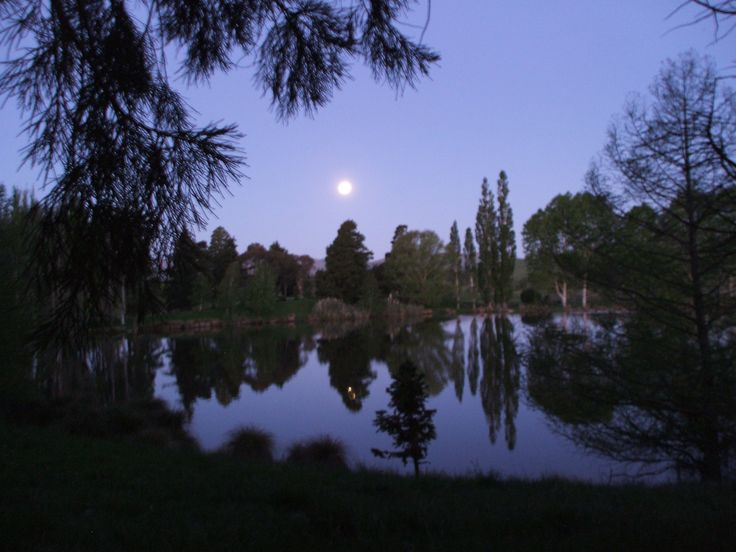 St Annes Lagoon, North Canterbury in the late dusk ,  moon rising