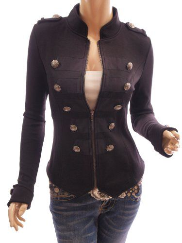 Patty Women Smart Black Zip Up Front Long Sleeve Stand Collar Military Style Light Jacket - THIS IS ADORABLE!